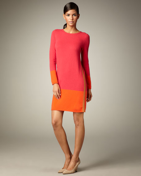 Colorblock Long-Sleeve Cashmere Dress