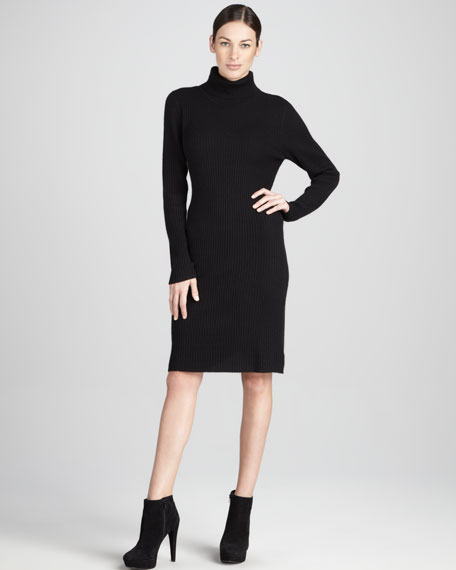 Ribbed Turtleneck Cashmere Dress
