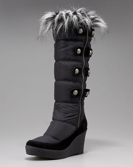 Faux-Fur-Lined Nylon Wedge Boot