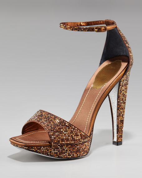 Rene Caovilla Open Toe Platform Ankle Strap Sandal