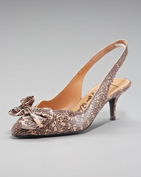 Lanvin Bow-Toe Python Slingback