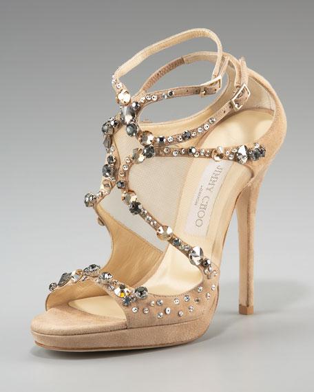 Emerald Crystal-Set Suede Sandal