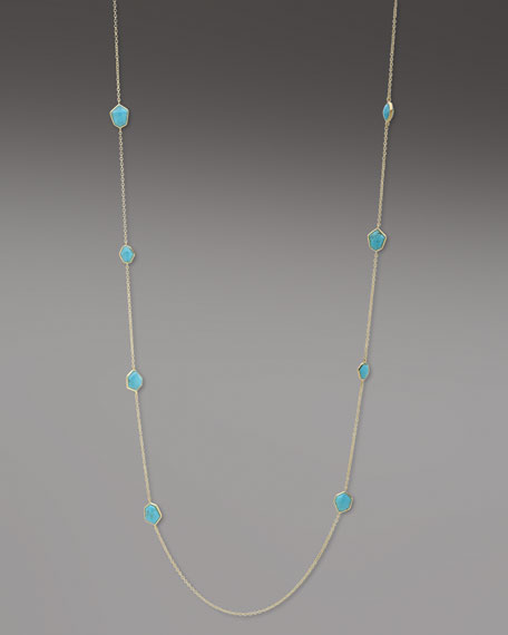 """Faceted Turquoise Necklace, 36""""L"""