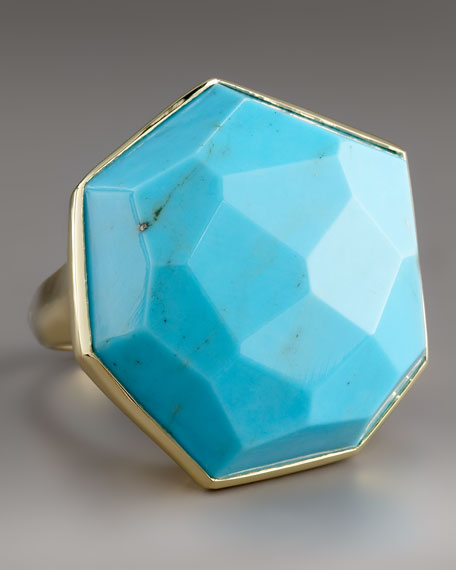 Large Faceted Turquoise Ring
