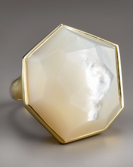Large Faceted Mother-of-Pearl Ring