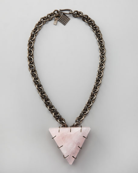 Triangle Quartz Pendant Necklace