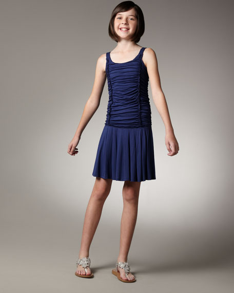 Ruched Pleated-Skirt Dress