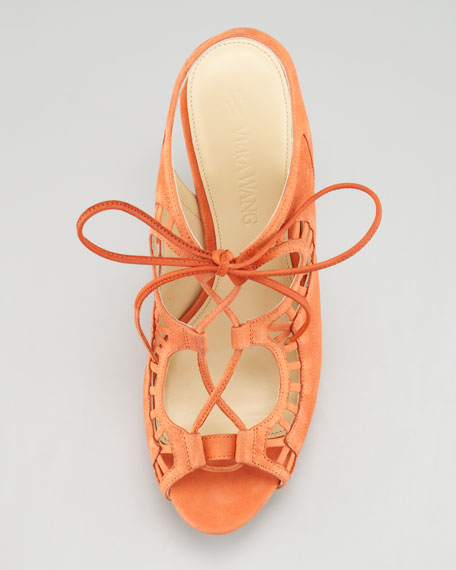 Quon Ghilly Lace-Up Suede Sandal, Orange