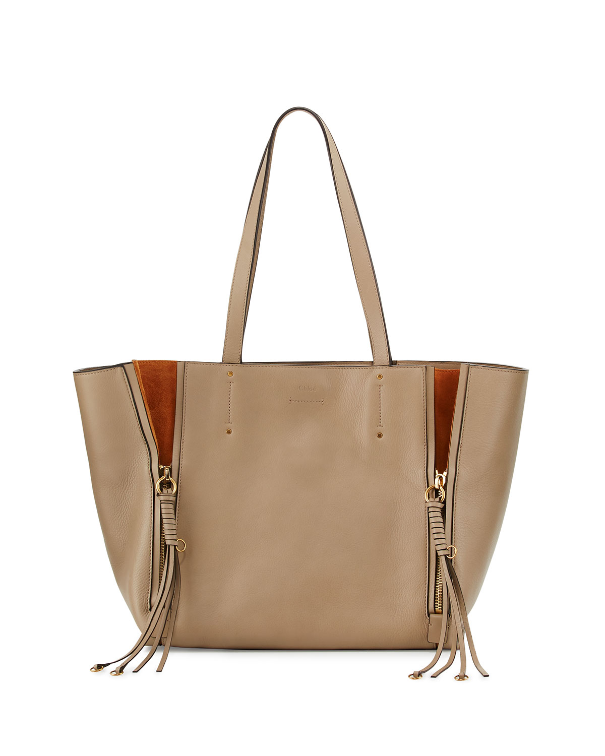 cee65e05e Chloe Milo Medium Leather & Suede Tote Bag | Neiman Marcus