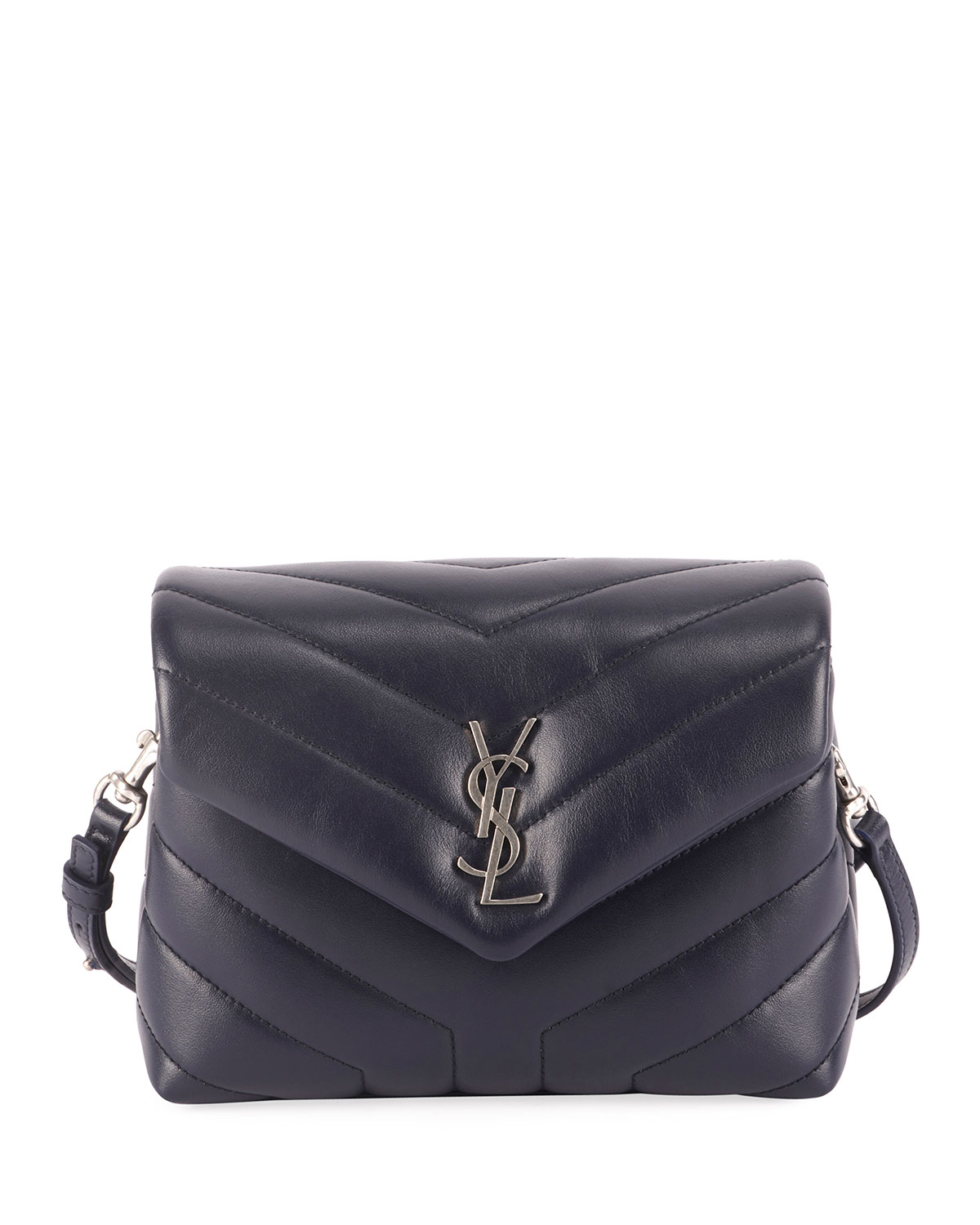 Loulou Monogram Ysl Mini V Flap Calf Leather Crossbody Bag Nickel Oxide Hardware