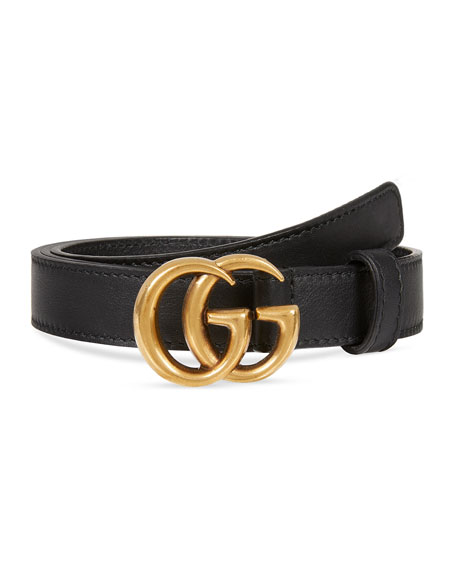 Image 1 of 1: Thin Leather GG-Buckle Belt