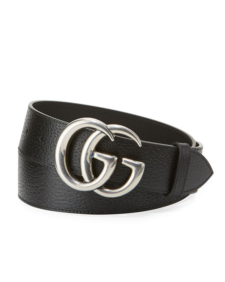 Image 1 of 1: Men's Leather Belt with Silvertone Double-G Buckle