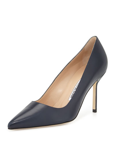 BB Leather 90mm Pump, Navy