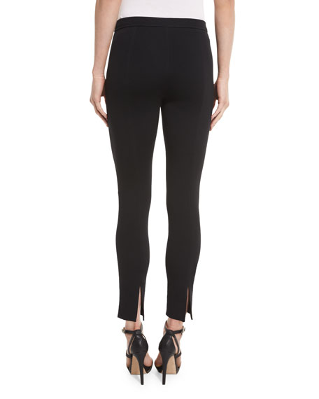 Alexa Knit Slim-Leg Ankle Pants, Caviar