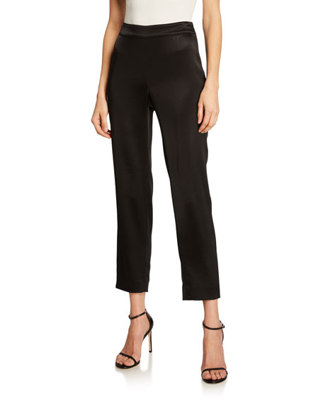 St. John Collection Liquid Satin Cropped Pants, Liquid
