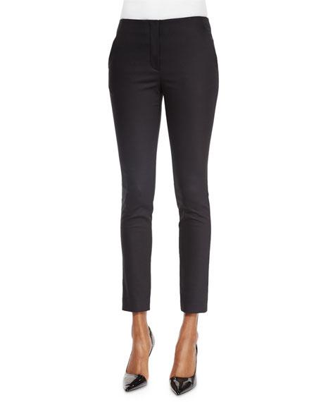 Flat-Front Skinny Pants, Black