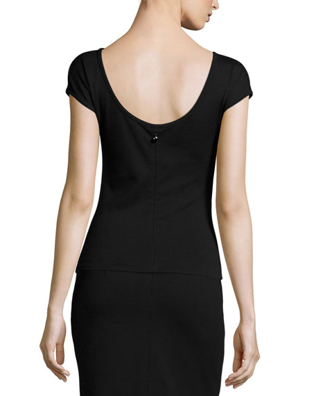 Scoop-Back Jersey Top, Black