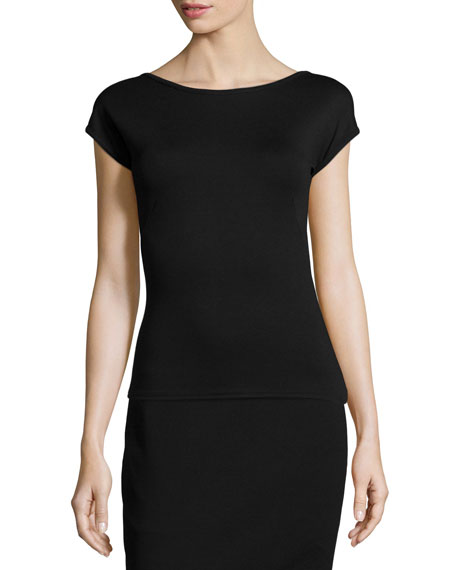 Akris punto Scoop-Back Jersey Top & Pleated Jacquard