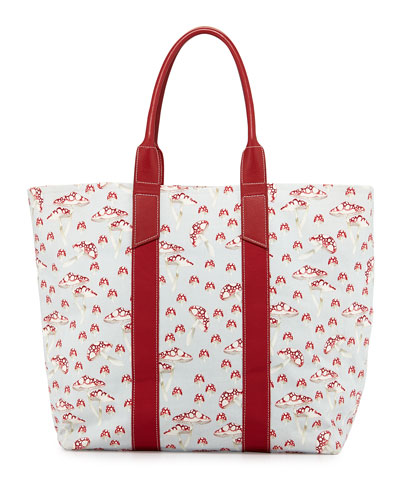 Mushroom-Print Coated Canvas Tote Bag