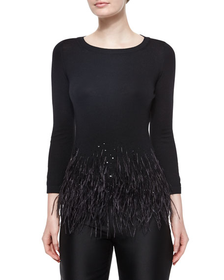 Feather Trimmed Knit Top