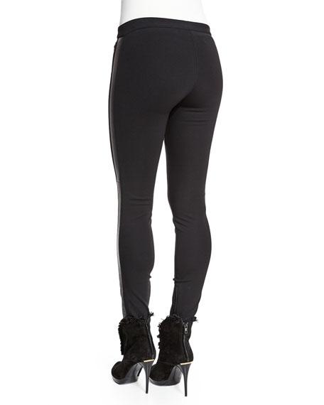 Burberry Low-Rise Leggings W/Racing Stripe, Black