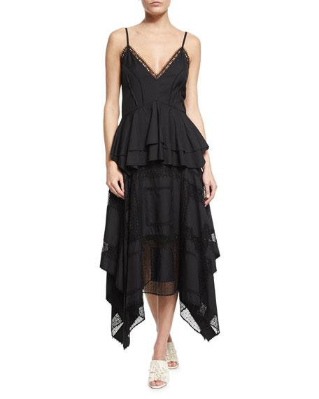 Derek Lam V-Neck Lace-Inset Peplum Dress, Navy
