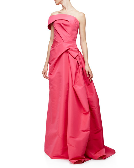 Carolina Herrera One-Shoulder Pleated Gown, Hot Pink
