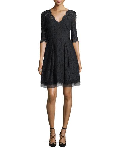 Half-Sleeve V-Neck Lace Cocktail Dress  Black