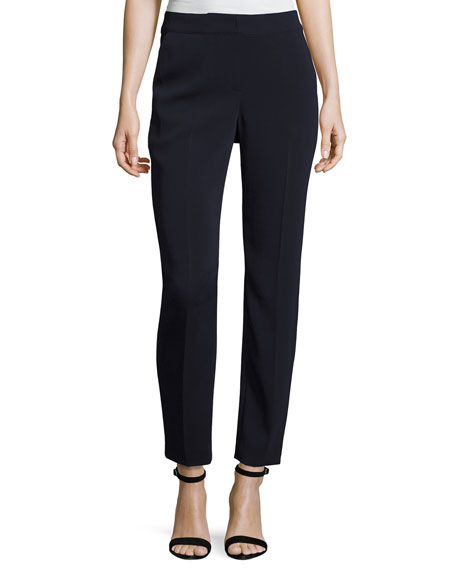 St. John Collection Classic Emma Stretch Cropped Pants, Navy
