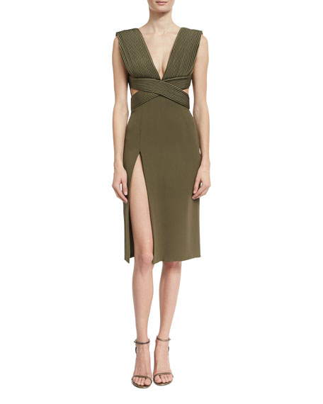 Brandon Maxwell Piped-Bodice V-Neck Dress, Olive
