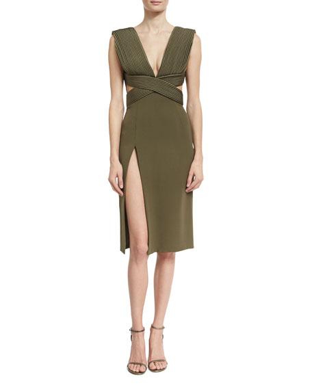 Brandon Maxwell Piped-Bodice V-Neck Dress, Olive