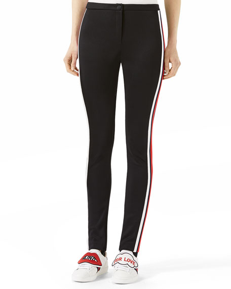 Gucci Jersey Stirrup Leggings with Sylvie Web | Neiman Marcus