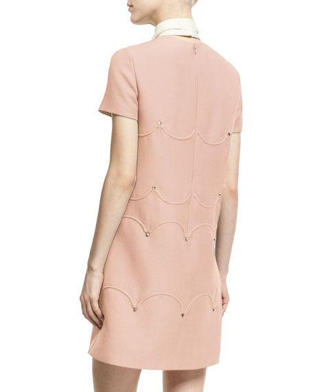 Short-Sleeve Scalloped Rockstud Dress