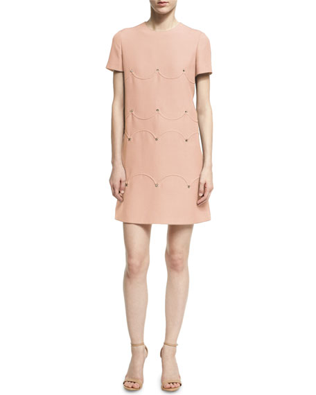 Short-Sleeve Scalloped Rockstud Dress