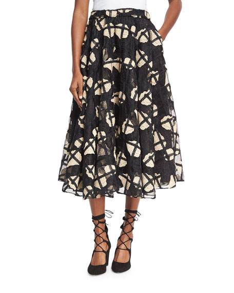 Cage Floral Lace Midi Skirt, Black
