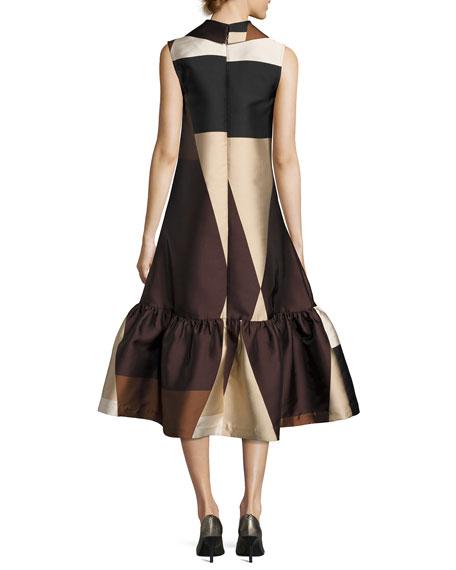 Colorblock Sleeveless Flounce Dress, Brown/Black/White