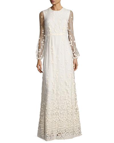 Pebble Lace Long-Sleeve Column Dress, Ivory