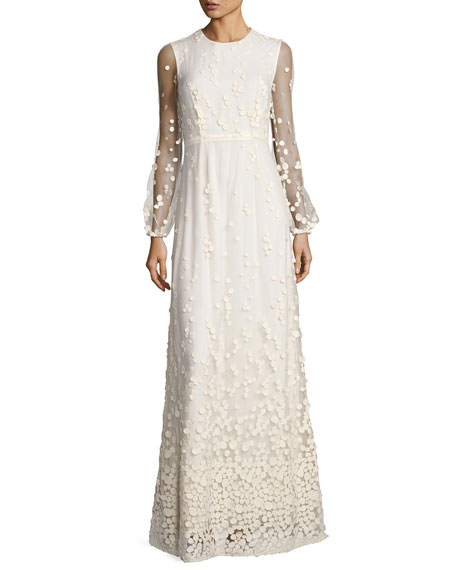 Co Pebble Lace Long-Sleeve Column Dress, Ivory