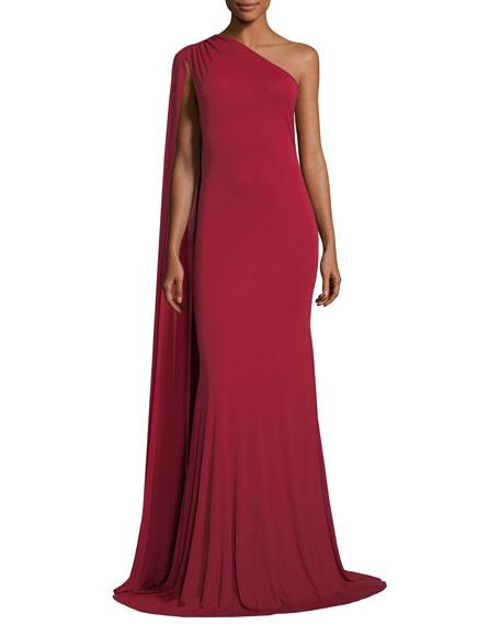 Naeem Khan One-Shoulder Cape Gown, Red