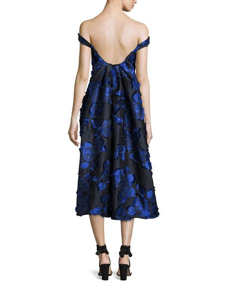 Off-the-Shoulder Floral Brocade Dress with Flounce Back