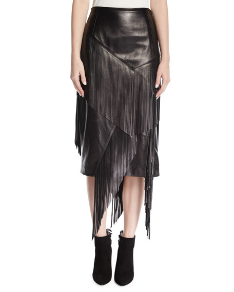 Michael Kors Collection Fringed Lamb Leather Pencil Skirt,