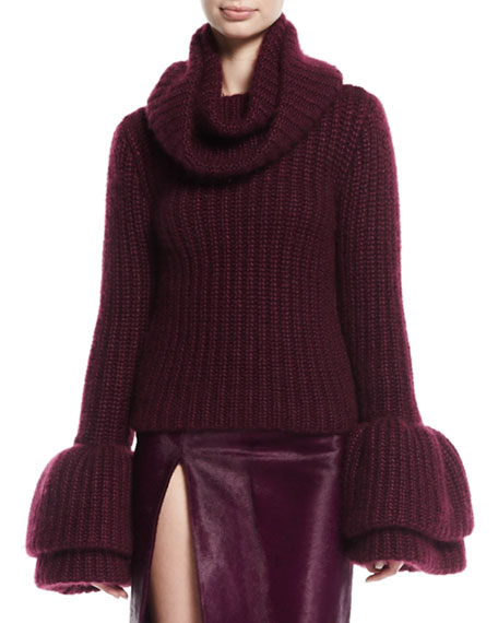 Brandon Maxwell Cowl-Neck Bell-Sleeve Sweater, Plum