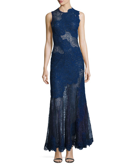 Jonathan Simkhai Collection Dimensional Lace Sleeveless Gown,
