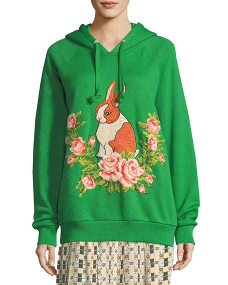 Rabbit Cotton Jersey Oversize Sweatshirt, Green