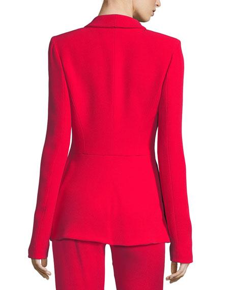 Draped-Pocket Crepe Suiting Jacket