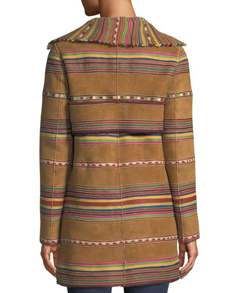 Intarsia Lamb Shearling Reversible Coat