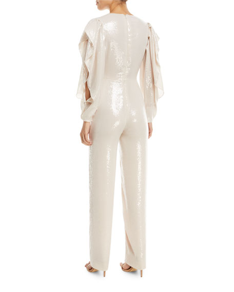 Plunging Sequined Straight-Leg Jumpsuit with Slit Sleeves
