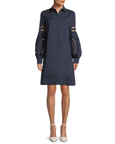 Lace-Inset Full-Sleeve Poplin Shirtdress