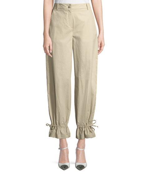 Flounce-Hem Tapered Cotton-Stretch Pants