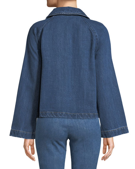 Peter Pan Collar Button-Front A-Line Denim Jacket